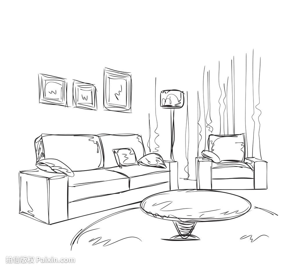 专业,建筑学,公寓,当代的,v专业,地板,绘制,绘画,家广告设计课程主修椅子图片