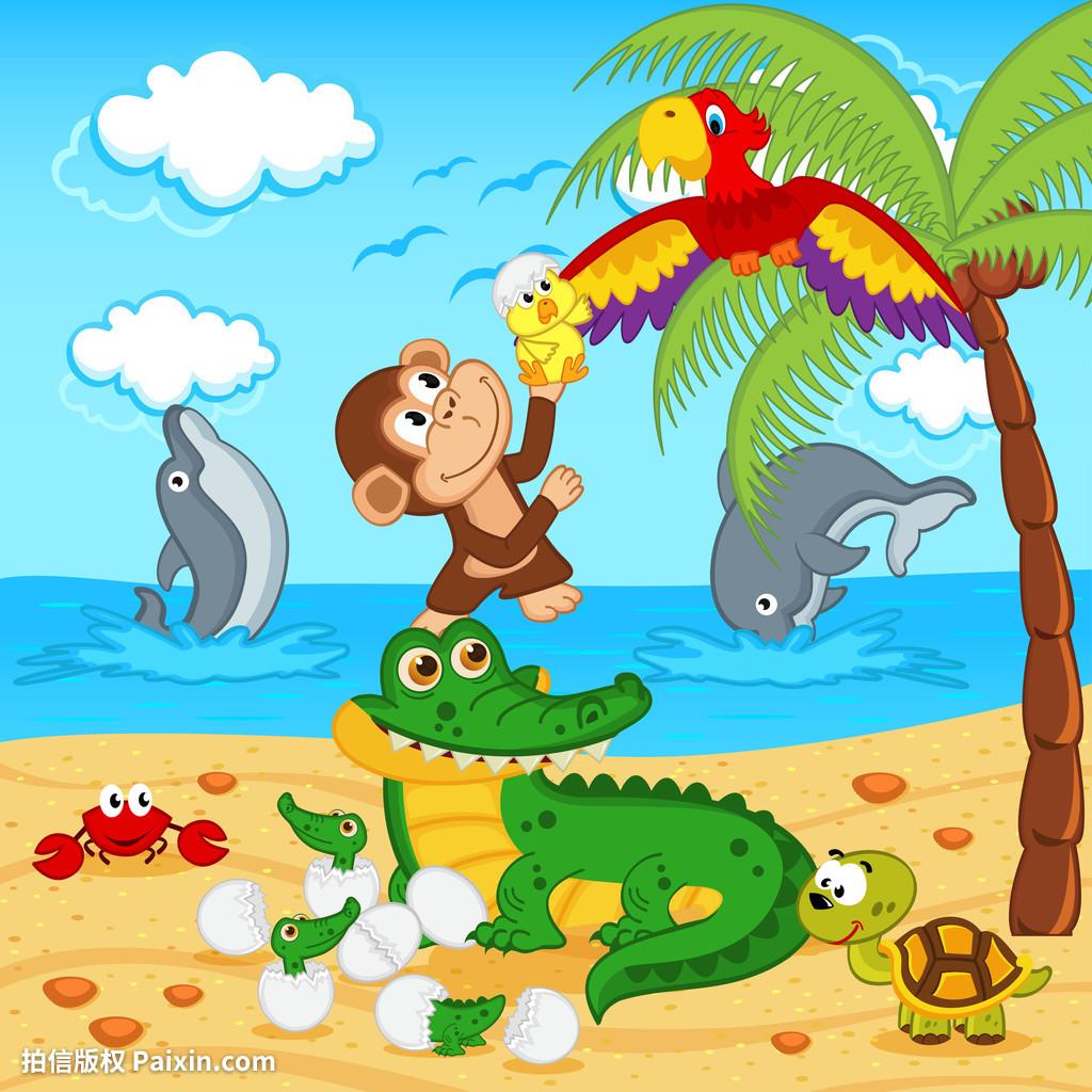 鳄鱼,宝贝,海滩,卡片,背景,卡通,动物,蟹,鳄鱼,海手游梦幻西游省钱攻略图片